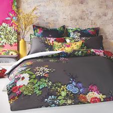 Charcoal Tropicana Cotton Quilt Cover Set