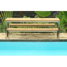 Renon Slatted Teak Outdoor Dining Set with Benches