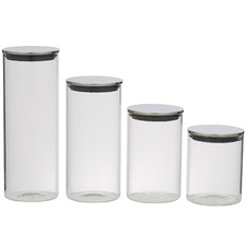 4 Piece Clear Glass Canister Set