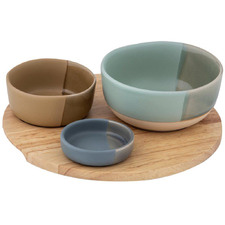 4 Piece Chameleon Round Serving Bowls & Board Set