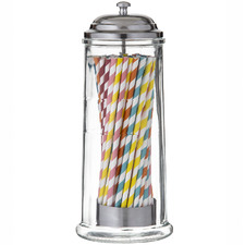 Retro Glass Dispenser with Paper Straws