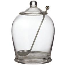2 Piece Glass Olive Jar & Ladle Set