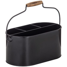 Black & Natural Flinders Metal Utensil Caddy