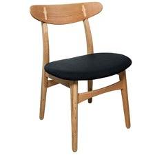 Avro Oak Chair with Black Seat (Set of 2)