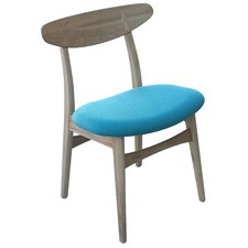 Avro Oak Chair with Teal Seat (Set of 2)