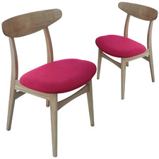 Avro Oak Chair with Red Seat (Set of 2)