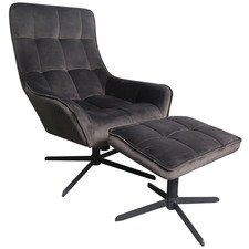 Grey Relax Velvet Chaise & Ottoman