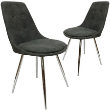 Grey Orbit Faux Suede Chairs (Set of 2)
