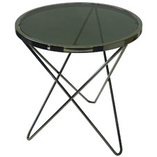 Black Round Venus Steel & Glass Side Table