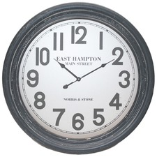 Metal Grey East Hampton Round Clock 60 cm