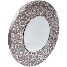 Gunmetal Grey Frejus Embossed Round Mirror