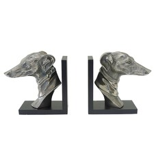 2 Piece Black & Silver Greyhound Bookend Set