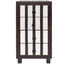 Boyd Tall Bamboo & Glass Bedside Table