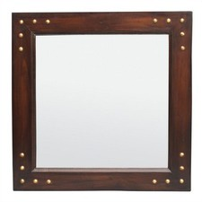 Wooden Frame Mirror 80 x 90cm with Stud Pattern