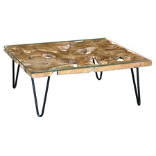 Square Recycle Timber Coffee Table with Tempered Glass
