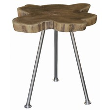 Recycle Timber Lamp Table with Stainless Steel Leg