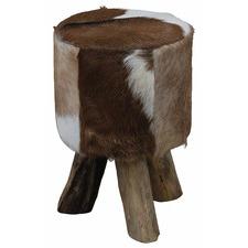 Goat Skin Round 3 Legged Stool