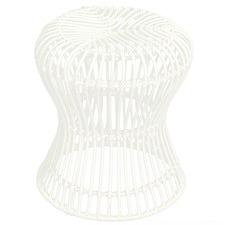 White Hourglass Woven Rattan Stool