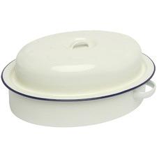 Blue Rim Oval 30cm Porcelain Roaster