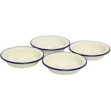 Blue Rim 12cm Porcelain Pie Dishes (Set of 4)