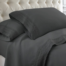 Charcoal Crochet 1500TC Microfibre Sheet Set