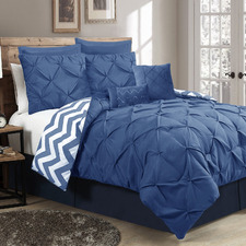 Classic Blue Pinch Pleat Microfibre Comforter Set