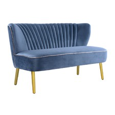 Steel Blue with Gold Finish Two Seater Sofa