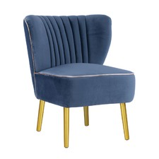 Steel Blue with Gold Finish Slipper Chair