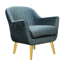 Steel Blue with Gold Finish Club Chair