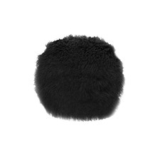 Black Tibetan Fur Round Cushion