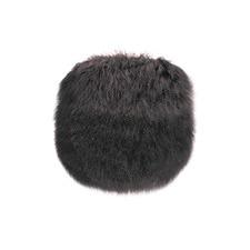 Charcoal Tibetan Fur Round Cushion