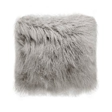 Grey Tibetan Fur Cushion