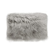 Grey Tibetan Fur Rectangular Cushion