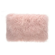 Pink Tibetan Fur Rectangular Cushion