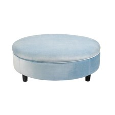 Ice Blue Ottoman with Feet