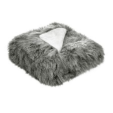 Grey Tibetan Fur Throw