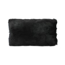 Black Goat Fur Rectangular Cushion