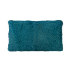 Peacock Goat Fur Rectangular Cushion