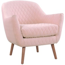 Quilted Velvet Club Chair with Natural Legs