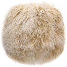 Round Tibetan Fur Cushion