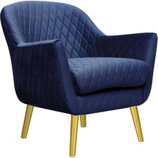Quilted Velvet Club Chair with Gold Legs