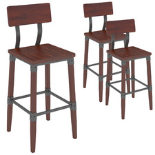 73cm Genos European Beech Wood Barstools with Back Rest (Set of 3)