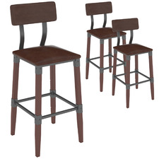 73cm Genos Faux Leather Barstools with Back Rest (Set of 3)
