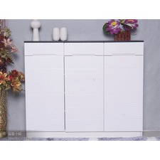 3 Door Shoe Cabinet in Black / White Future Furnitures