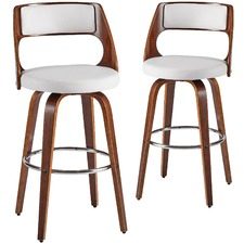 White Zurich Modern Barstools (Set of 2)