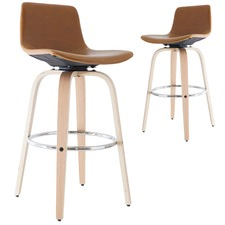 71cm  Tan Rowan Faux Leather & Timber Barstools (Set of 2)