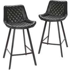 Bordeaux Faux Leather Commercial Grade Barstools (Set of 2)