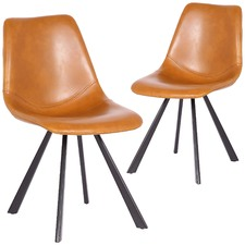 Tan Rimini Faux Leather Dining Chairs (Set of 2)