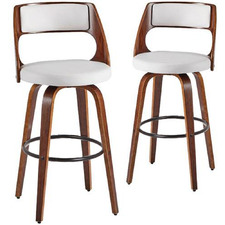 Munich Faux Leather Swivel Barstools (Set of 2)