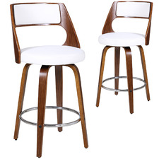 100cm  White Zurich Modern Barstools (Set of 2)